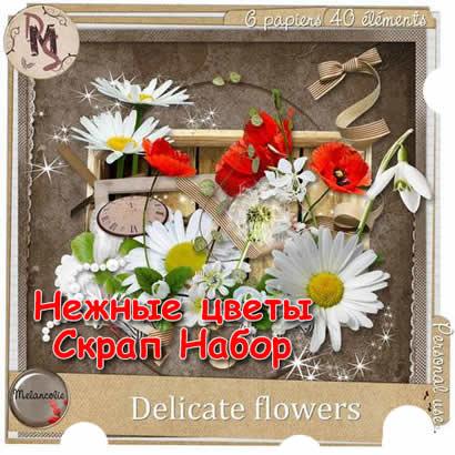 Скрап набор Прекрасные нежные цветы