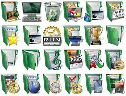 Набор иконок зеленого цвета из стекла