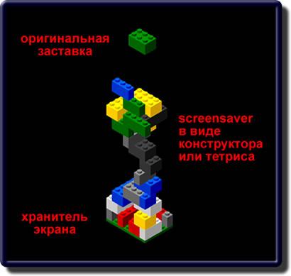 Заставка в виде игры в конструктор Лего