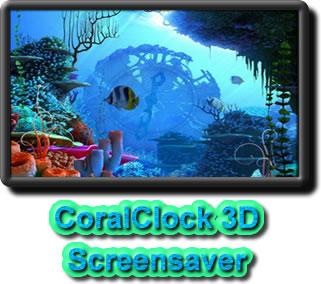 трехмерные часы в коралловых рифах - 3d-заставка на Рабочий стол